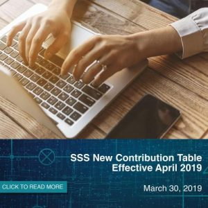 Effective April: SSS New Contribution Table 2019